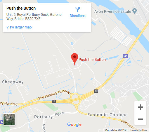 Google Map showing the address of Push The Button